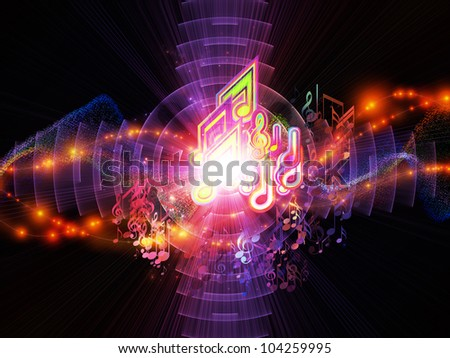 Backdrop composed of musical notes, lights, wave and sine patterns and suitable for use on music, sound equipment and processing, audio performance and entertainment - stock photo