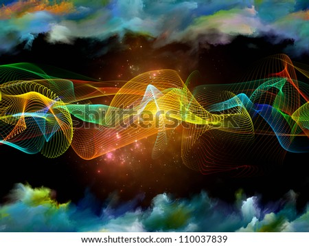 Backdrop composed of sine wave and suitable for use in the projects on technology, science and media communications