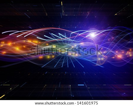 Backdrop composed of technological elements and directional abstract forms and suitable for use in the projects on science, virtual technologies and telecommunications