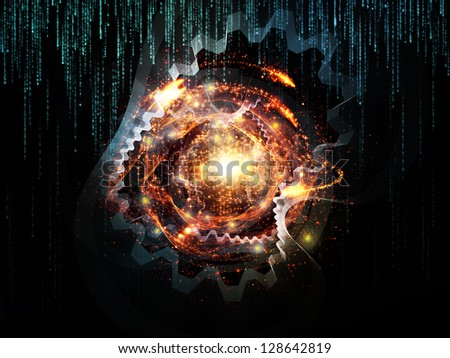 Backdrop design of various technology related elements to provide supporting composition for works on industry, science and education - stock photo
