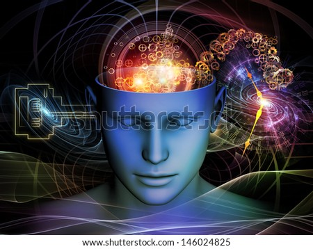 Backdrop of cutout of male head and symbolic elements on the subject of human mind, consciousness, imagination, science and creativity - stock photo