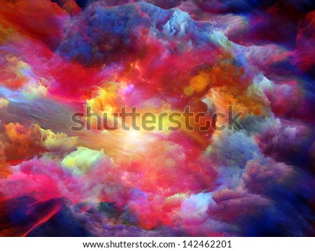 Backdrop of dreamy forms and colors on the subject of dream, imagination, fantasy and abstract art - stock photo