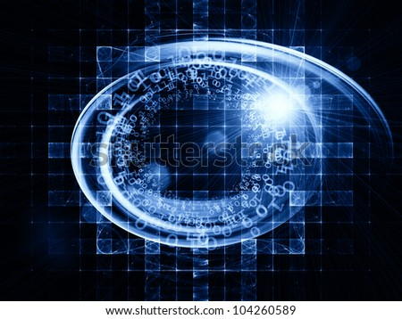 Backdrop of light trails, grids  and technological elements on the subject of science, computing and modern technologies