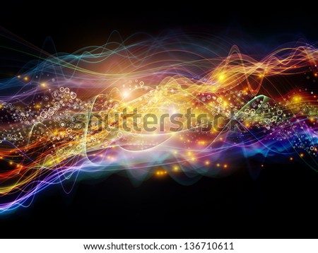 Backdrop of lights, fractal and custom design elements on the subject of signals, networking, communication technologies and motion