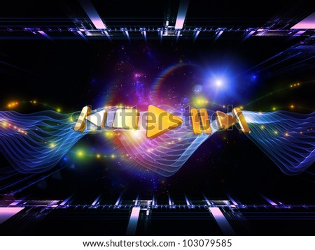 Backdrop on the subject of music, sound equipment and processing, audio performance and entertainment composed of player controls, perspective fractal grids, lights, wave and sine patterns - stock photo