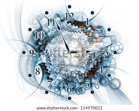 Backdrop on the subject of scheduling, temporal and time related processes, deadlines, progress, past, present and future composed of gears, clock elements, dials and dynamic swirly lines - stock photo