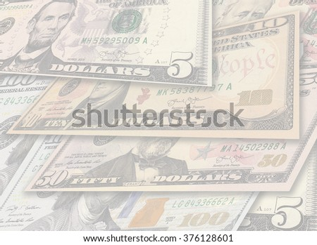 Backdrop tempolate image with pile of dollar banknotes in different currency 5, 10, 50, 100 dollar currency of the United States useful as a background with copyspace - stock photo