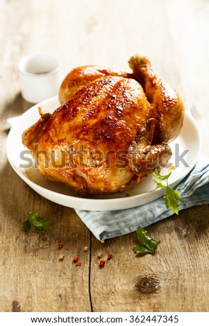 Backed chicken - stock photo