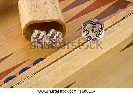 Backgammon board with a roll of double sixes. - stock photo