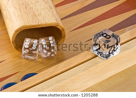 Backgammon board with roll of double sixes - stock photo