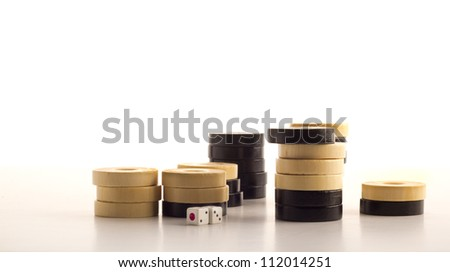 backgammon chips - stock photo
