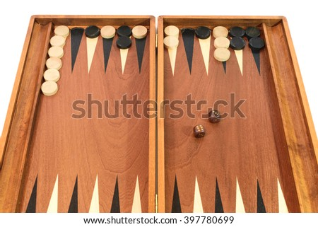 backgammon game chips and dice on the board in the middle of the game - Backgammon Game