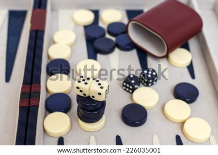Backgammon set with dice - stock photo