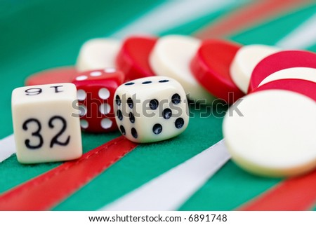 Backgammon, Sugoroku, Nard, Tabula , game is originated in ancient Persia is very popular between gamblers in Europe through Asia, - stock photo