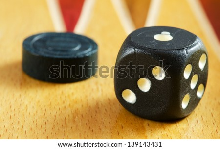 Backgammon table ,dice and pieces (closeup image) - stock photo