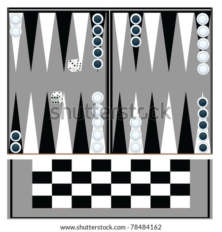backgammon table with black and white - stock photo