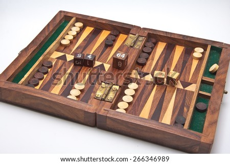 backgammon, the first floor of the box ready to start playing game - stock photo