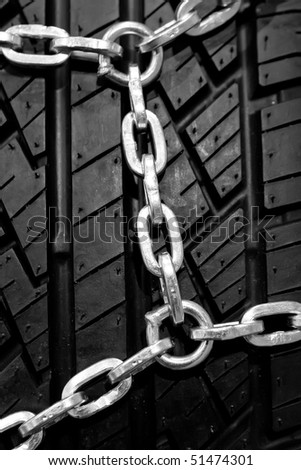Backgorund of a black rubber tyre with chain