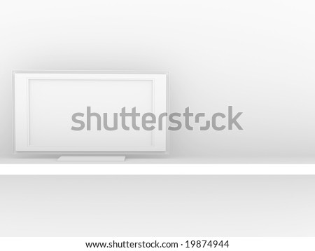 Backgroud - liquid-crystal TV of white color - stock photo