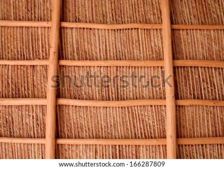 Background - A well lit thatch roof as seen from below, with  symmetric composition.