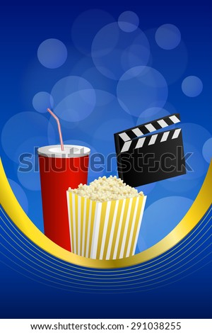 Background abstract cinema blue red drink yellow popcorn movie clapper board frame vertical gold ribbon illustration