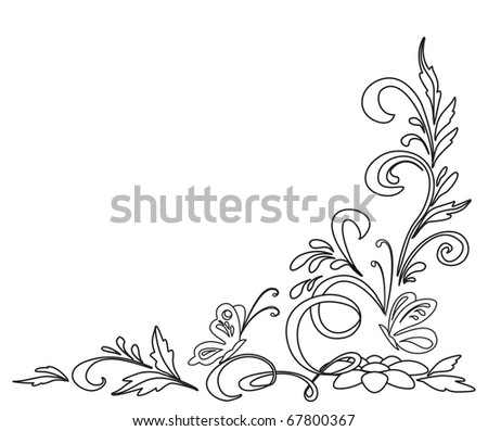 Background, abstract floral pattern, isolated, contours - stock photo