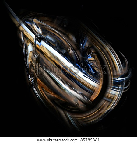 Background. Abstract - Metal Sculpture Close Up. Abstract metal pipes. - stock photo