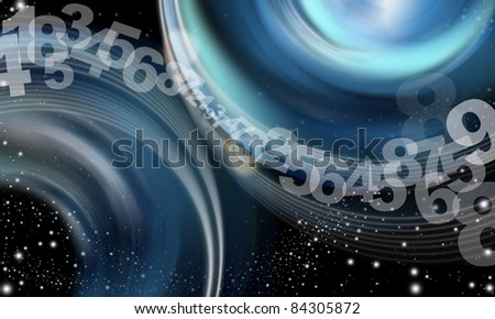 background abstract sky, cloud numbers, stars and blue shades