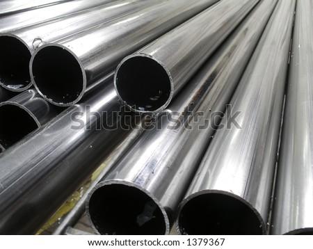 Background - Aluminum tubes - stock photo