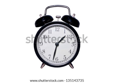background and isolated  of alarm clock in black color