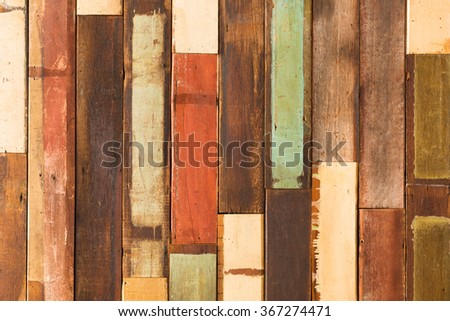 background and texture of decorative detail old colorful wood stripe  on  surface wall - stock photo