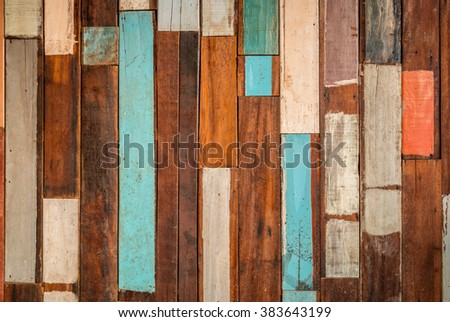 background and texture of decorative detail old colorful wood stripe  on  surface wall