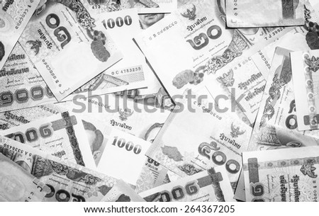 Background and texture of Thai currency,banknotes with black and white color - stock photo