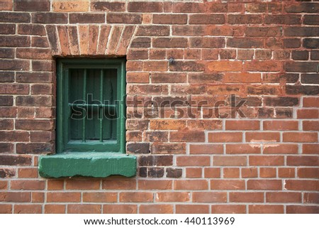 Background and texture.  Old brick and wooden walls of the Distillery district, Toronto, Ontario, Canada.