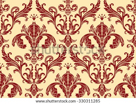 Background antique seamless wallpaper. Red decor vintage - stock photo