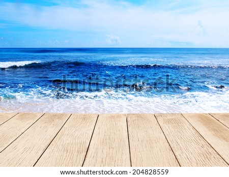 background beautiful blue sea - stock photo