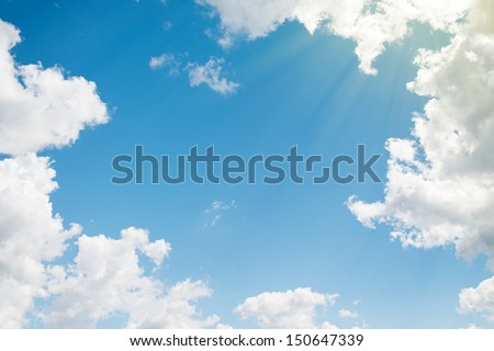 background. beautiful blue sky with white clouds - stock photo
