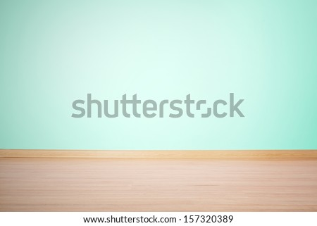 background, blank empty wall and floor in a blue green color - stock photo