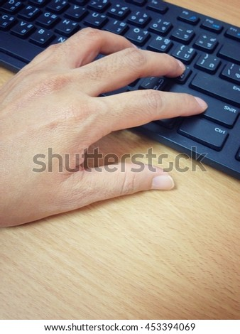 Background blur and soft focus the type using the keyboard. - stock photo