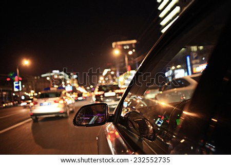 background blur night traffic jams traffic speed - stock photo