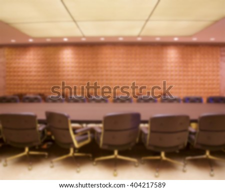 Background blur of stylish empty conference room ready for a meeting. - stock photo