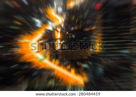 background blur of traffic of Bangkok night bird eye view - stock photo