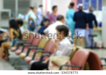 Background blur the number of patients waiting for treatment in hospital due to bad weather. People get sick easily. - stock photo