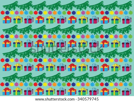 Background: branch, balloons, gifts. - stock photo