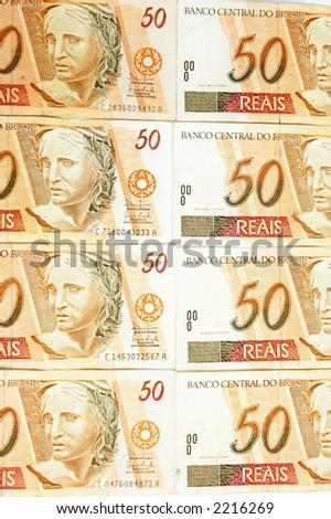 Background - Brazilian money fifty real. - stock photo
