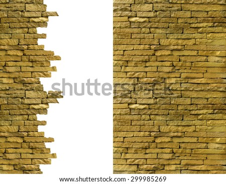 Background brick old ruins isolated on white background. - stock photo