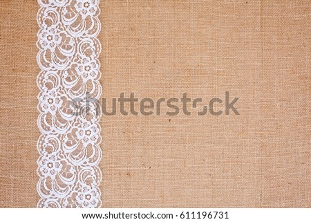 Background Burlap Hessian White Lace Border Stock Photo Royalty