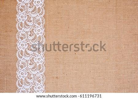 Background Burlap Hessian White Lace Border Stock Photo Royalty