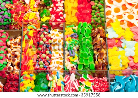 Background candy trexture full with colorful sweets - stock photo