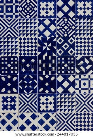 Background. Ceramic tile in Lisbon street, Portugal. - stock photo